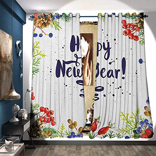BlountDecor Patterned Drape for Glass Door Rowan Cones Wild Grapes and Arborvitae Branches Composition with Happy Year Quote Customized Curtains W96 x L96 Multicolor
