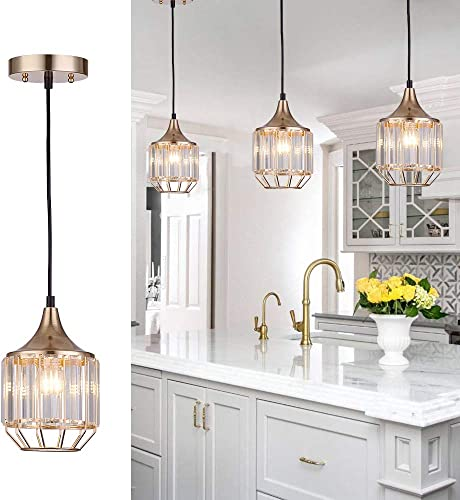 Cuaulans 1 pack Caged Crystal Pendant Light, Gold Finish Ceiling Hanging Pendant Lighting Fixture with Adjustable Cord