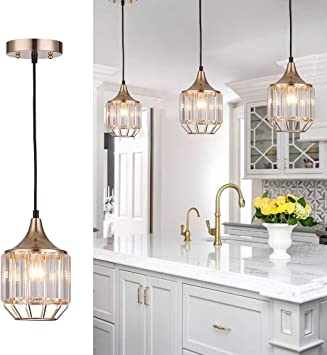 Cuaulans 1 Pack Caged Crystal Pendant Light Copper Gold Finish Ceiling Hanging Pendant Lighting Fixture With Adjustable Cord For Kitchen Island Window Bathroom Bedroom Dining Room Amazon Com