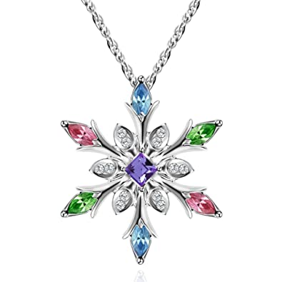 6b66024b1 Murtoo Silver Snowflake Pendant Necklace and Decorated with Swarovski  Element Crystal for Women (Multicolor): Amazon.co.uk: Jewellery
