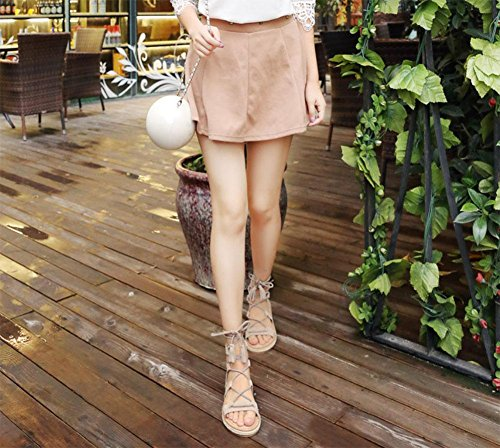MEILI Zapatos planos, cuerda de paja, sandalias con tacón abierto para mujer apricot