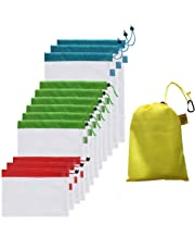 Reusable Produce Bags 12 Pack Carry Pouch Durable, Transparent, Lightweight mesh - Ideal for Fruit, Vegetables and Grocery Shopping Storage.