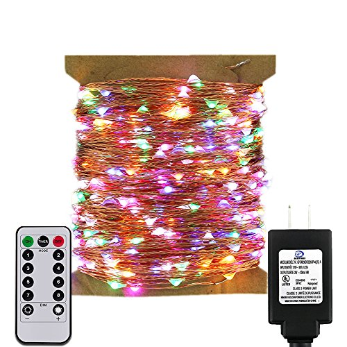 ErChen Remote Control Adapter Powered Led String Lights, 165FT 500 Leds Dimmable Copper Wire Decorative Fairy Lights with 8 modes and Timer for Indoor, Outdoor, Christmas (Multicolor) ()