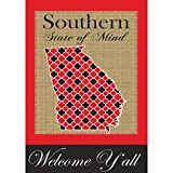 Southern State of Mind Georgia 42 x 29 Rectangular Burlap Double Applique Large House Flag