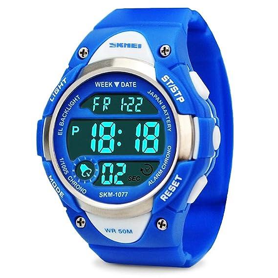 Los niños de los relojes digitales,niños deportes reloj con alarma al aire libre 50 m resistente al agua - electrónico muñeca relojes con luz LED para ...