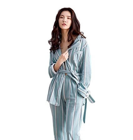 513a0a1573 Image Unavailable. Image not available for. Color  Women  s Fall Cotton  Pajamas Sexy Women Long Sleeve Home Clothing Cardigan Long - Sleeved