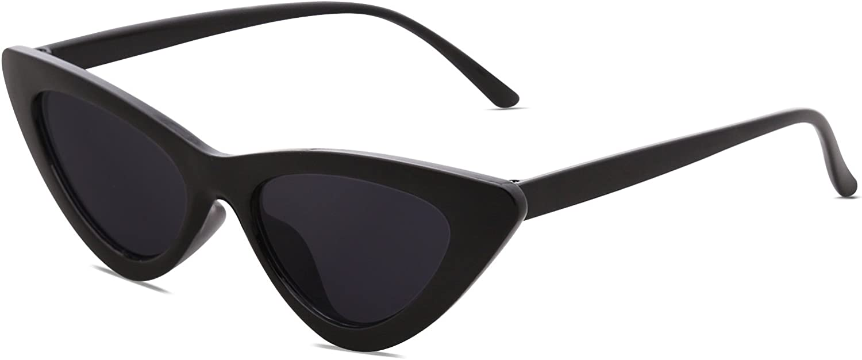 SOJOS Retro Vintage Narrow Cat Eye Sunglasses for Women Clout Goggles Plastic Frame Cardi B SJ2044