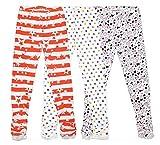 Bienzoe Girl's Knit Cotton Stretch School Uniform Lace Antictatic Print Legging 3 Pack Size 12