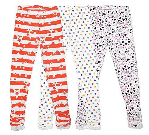 Bienzoe Girl's Knit Cotton Stretch School Uniform Print 3 Leggings Pack 4
