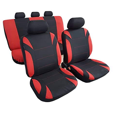 Amazon Com Universal Fit Lady Design Red Black Polyster Car Seat