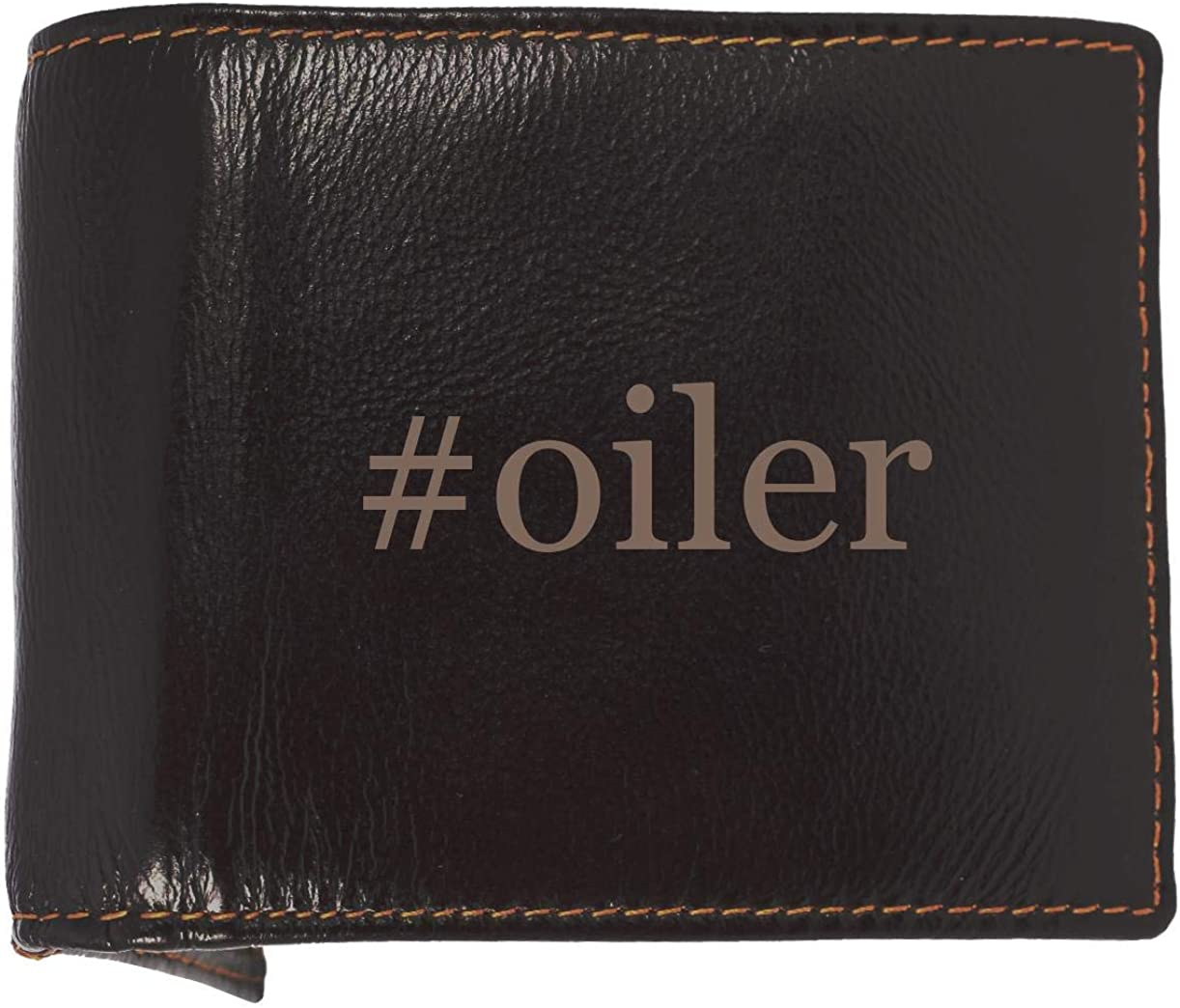 #oiler - Soft Hashtag Cowhide Genuine Engraved Bifold Leather Wallet 61cuBBRLGBL