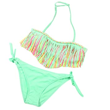 d6c133820e10 Conjuntos bebé Bañador bebé Bañadores de Verano para niñas Tassel Conjunto  de Bikini Traje de baño de Nylon para Chicas 3 años -12 años Amlaiworld