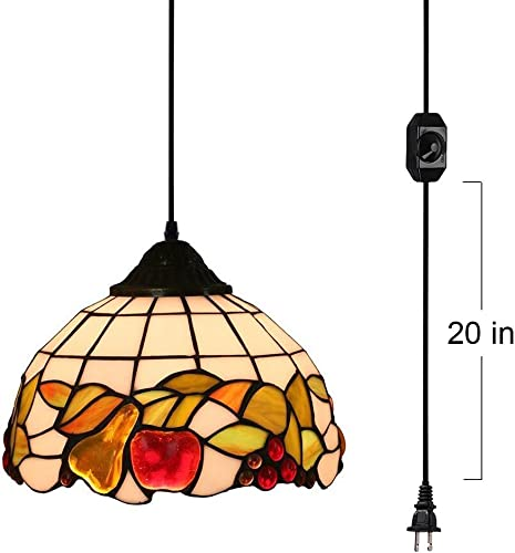 KIVEN 15ft UL Plug-in Cord Tiffany Colorful Fruit Glass Shade Pendant Lighting Handmade Light Fixtures Antique Decor with On Off Dimmer Switch,Bulb Not Included