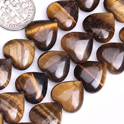 GEM-inside 14mm Heart Shap Gemstone Tiger Eye Agate Beads 15 Inches Fashion Jewelry Making - Heart Gemstone Beads