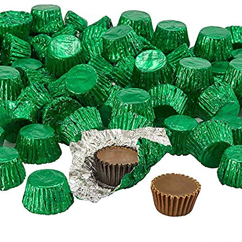 Reeses Peanut Butter Cups Miniatures | 4 July Independence Day Chocolate | Dark Chocolate | Bulk Candy Individually Wrapped | Dark Green - 5 lb ()