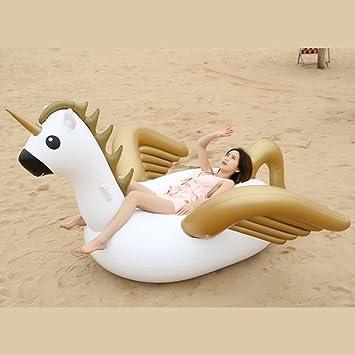SHASHA Colchonetas Y Juguetes Hinchables Gigante Pegaso Unicornio Ride-On Natación Anillo Inflable Piscina Flotador para Mujeres Aire Colchón Playa Agua ...