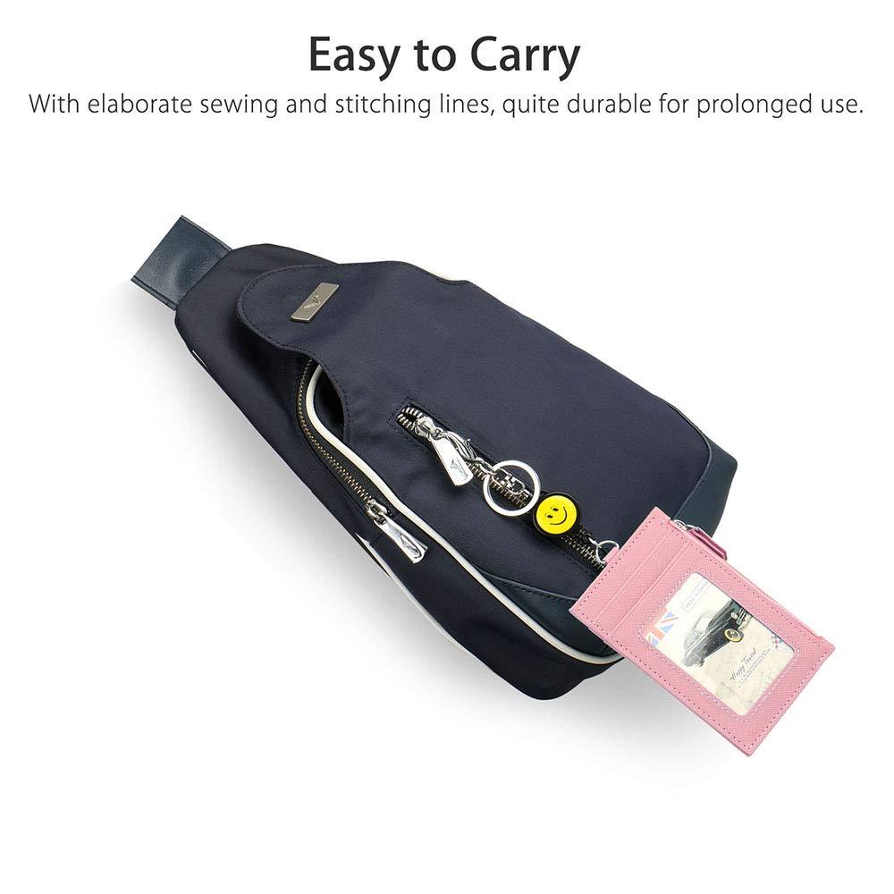 Blu Fiore Porta Badge LEUYUAN ID Carte Porta Badge con 1 finestra ID e 3 fessura per carte e Portamonete con Cerniera