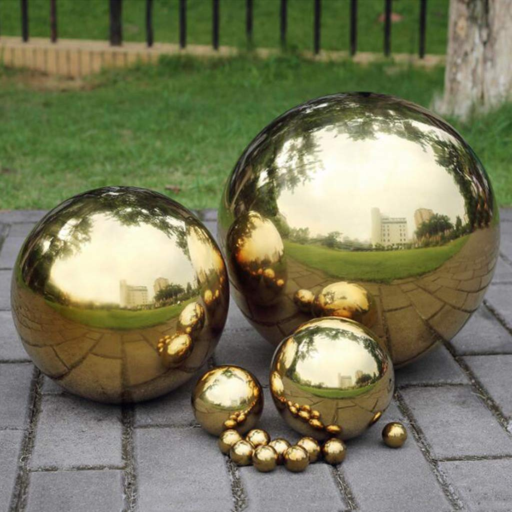 HomDSim 48cm/19 inch Diameter Gazing Globe Mirror Ball,Gold Stainless Steel Polished Reflective Smooth Garden Sphere,Colorful and Shiny Addition to Any Garden or Home by HomDSim (Image #4)