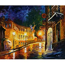 """Leonid Afremov Original Image From Painting Lonely Night Print On Artistic Cotton Canvas, Size: 36""""X30"""""""