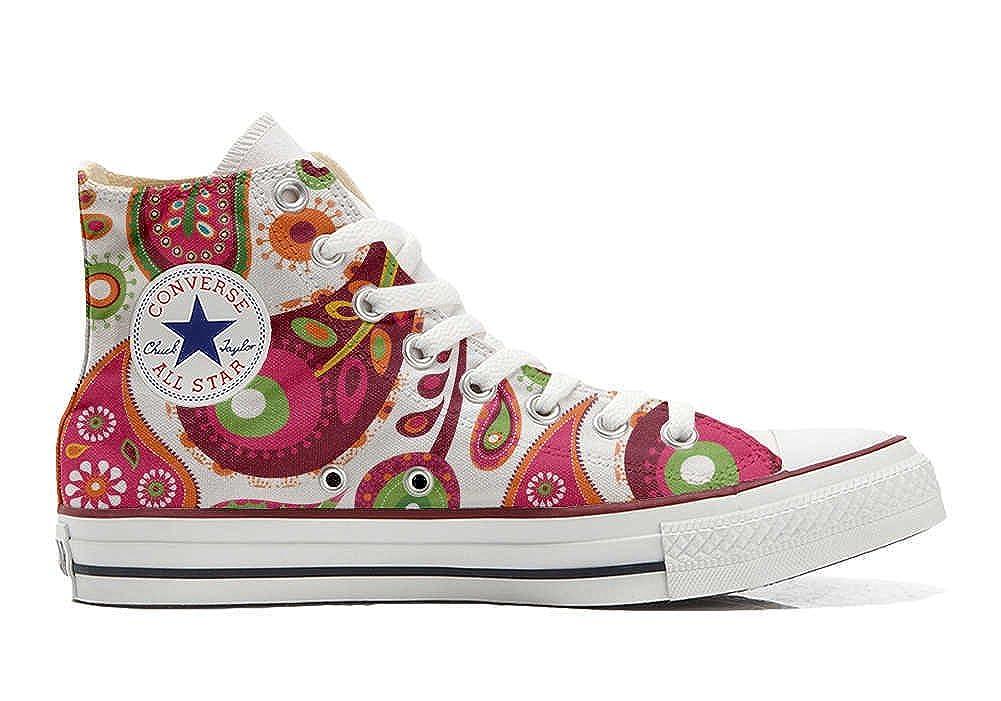 Converse All Star personalisierte Schuhe - Handmade schuhe - Weiß Grün Paisley 2
