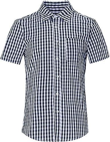 RAISEVERN Hombres Casual Camisa a Cuadros de algodón Mezcla Regular Fit-Largo/Manga Corta con Botones de Cuello Camisas de Tela Escocesa