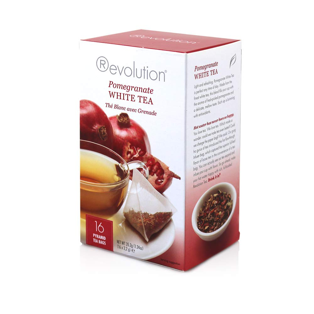 Revolution Tea White Pomegranate Tea, 16-Count Teabags (Pack of 6) by Revolution Tea