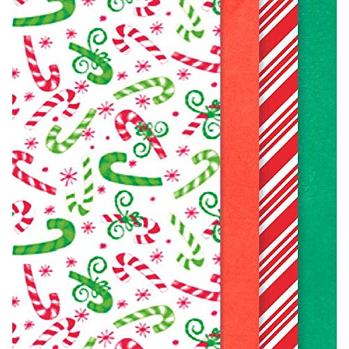 Amscan 180567 Candy Canes & Christmas Colors Printed Tissue for Gift Bags, 20