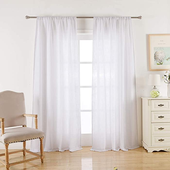 Valea Home White Burlap Look Soft Natural Rod Pocket Window Curtain Panels for Living Room, 52 x 108 inches, 1 Panel