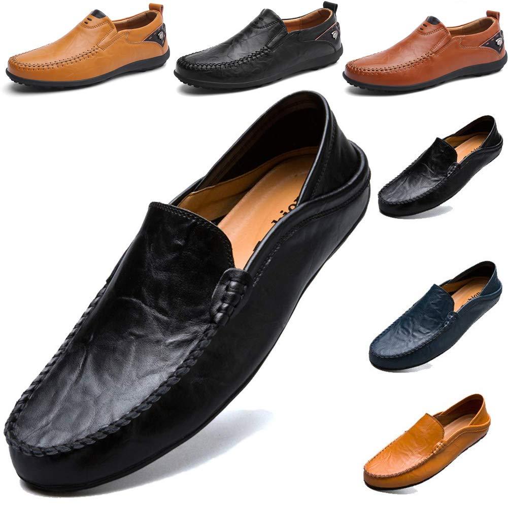 TALLA 41 EU. LSGEGO Hombres Moda Mocasines Zapatos de Negocios Bota de Cuero Genuino Transpirable Correr Caminar Oficina Casual Todos los Días Entrenadores Al Aire Libre Marrón Negro