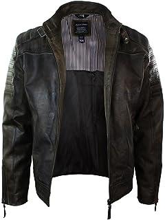 873fdd1fb552e Infinity Men's Warm Vintage Brando Leather Biker Jacket: Amazon.co ...