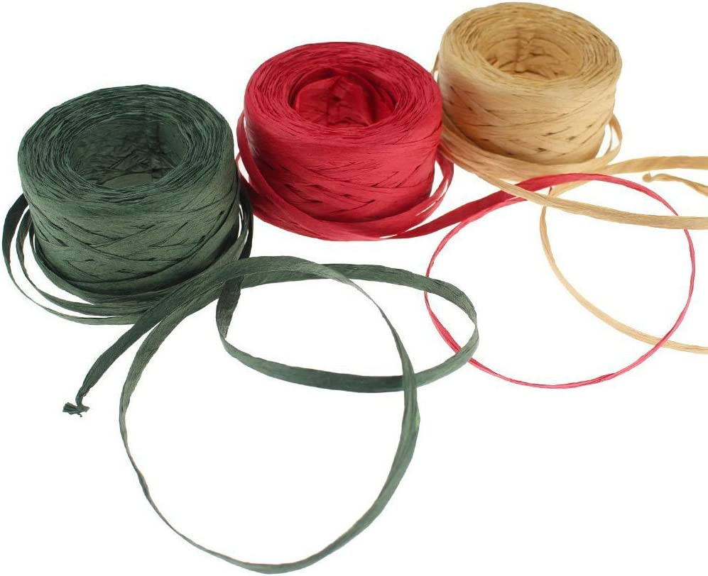 Christmas Holiday Rope Jute Twine String Rolls for Gift Wrapping Natural Florals 150 Ft Each Set of 3 Green Red Xmas Arts and Crafts 3