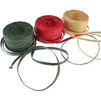 CREATRILL 3 rollos de cinta de rafia/cuerda, 164 pies cada rollo, papel de embalaje cuerda para Navidad, Green, Red, Kraft, 1