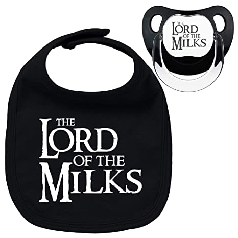 Pack chupete y babero negros The lord of the milks. Parodia El señor ...