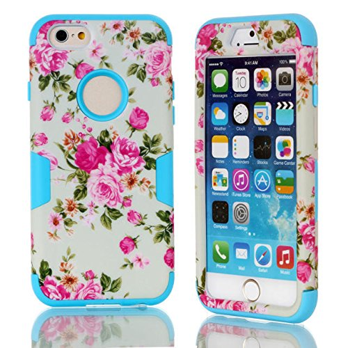 iPhone 6s hülle, iPhone 6 hülle, Lantier Hybrid Heavy Duty Rugged Hard Case mit harter PC + Innen Silikon Shell Shockproof Abdeckung für Apple iPhone 6 / 6S 4,7 Zoll (Rose / Blau)