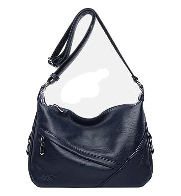a47a05abb8a Molodo Women PU Leather Big Shoulder Bag Purse Handbag Tote Bags Blue