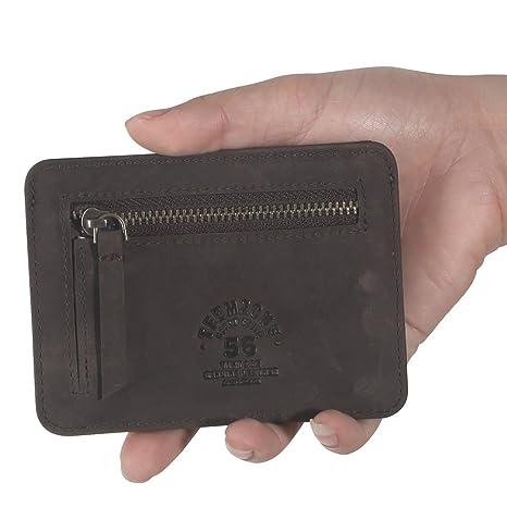 Teemzone Retro RFID Cartera Monedero de Monedas Hombre Billetero Tarjetero de Piel Delgado Cremallera (Café): Amazon.es: Equipaje