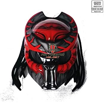 Pro Predator Motorcycle DOT Approved Helmet Red and Metalic Silver Style include Tri Laser SY32