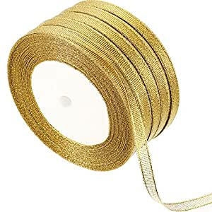 Gejoy 5 Rolls 0.24 Inch Gold Glitter Ribbons Metallic Ribbons for Crafters Gifts Wrapping Decorations DIY Crafts Arts