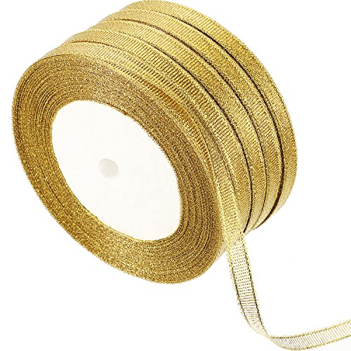 Gejoy 5 Rolls 0.24 inch Glitter Ribbons Metallic Ribbons for Crafters Gifts Wrapping Decorations DIY Crafts Arts (Gold -