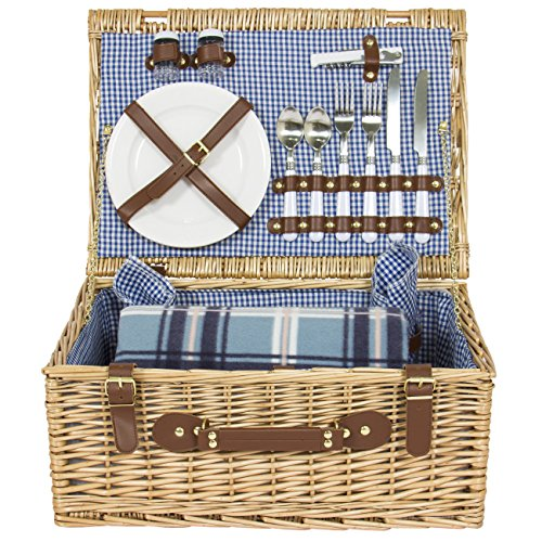 Best Choice Products 2 Person Wicker Picnic Basket w/Cutlery, Plates, 2 Wine Glasses, Tableware, Fleece Blanket - Brown by Best Choice Products (Image #2)