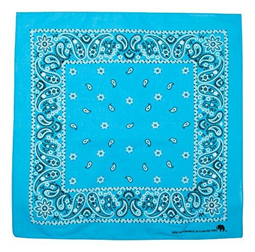 Elephant Brand Bandanas 100% cotton since 1898 - 12 Pack (Turquoise) (Wyatt Earp Costume)