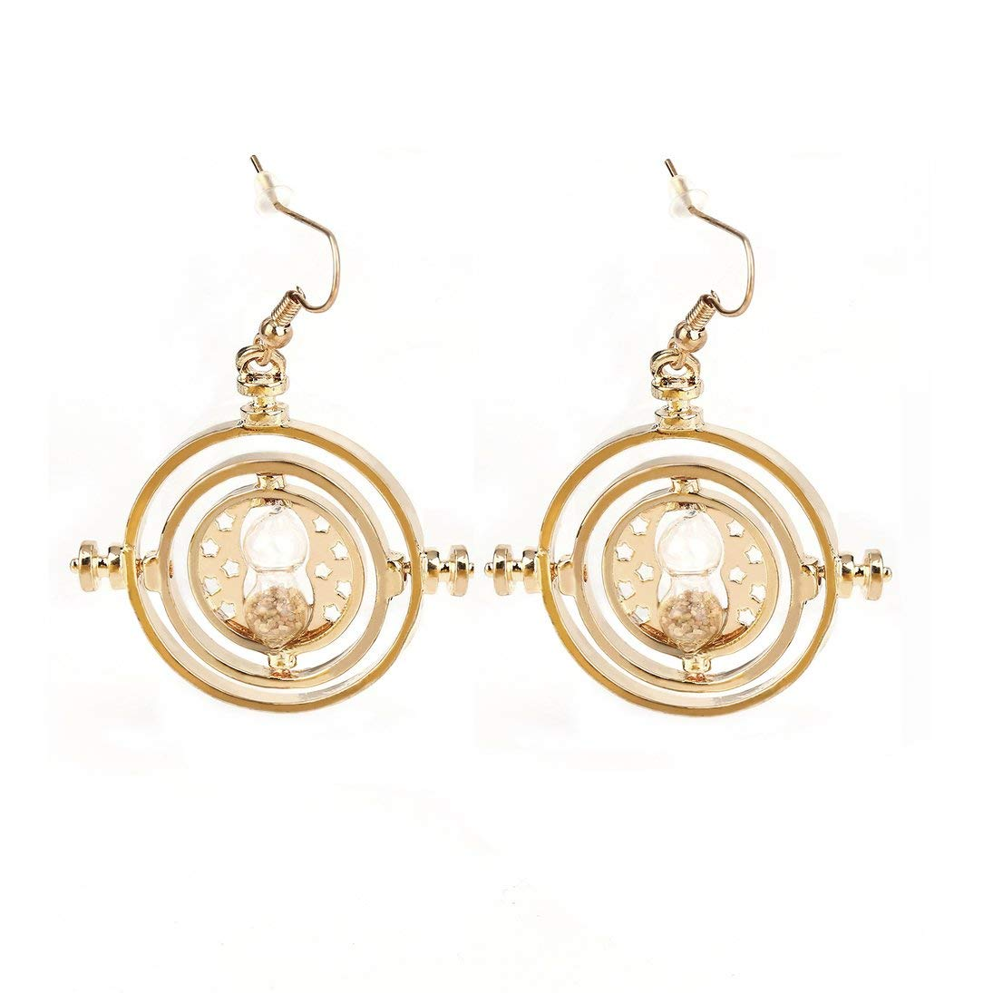 Baynne New Rotating Time-Turner Spins Hourglass Dangle Earrings Pendant Fashion Wedding Accessories