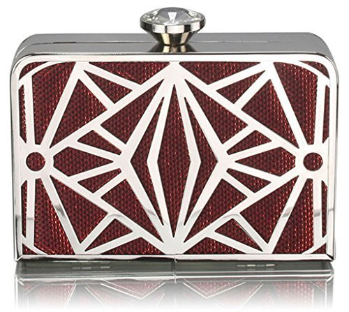Mesh Metallic Evening Bag (Womens Box Clutch Bag Ladies Evening Handbags Chain Hard Case Mesh Metallic Clutch)