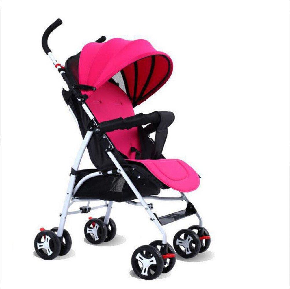 QXMEI Newborn Stroller Shock Absorber Baby Stroller Newborn Stroller Seated Baby Umbrella Stroller,Rosered