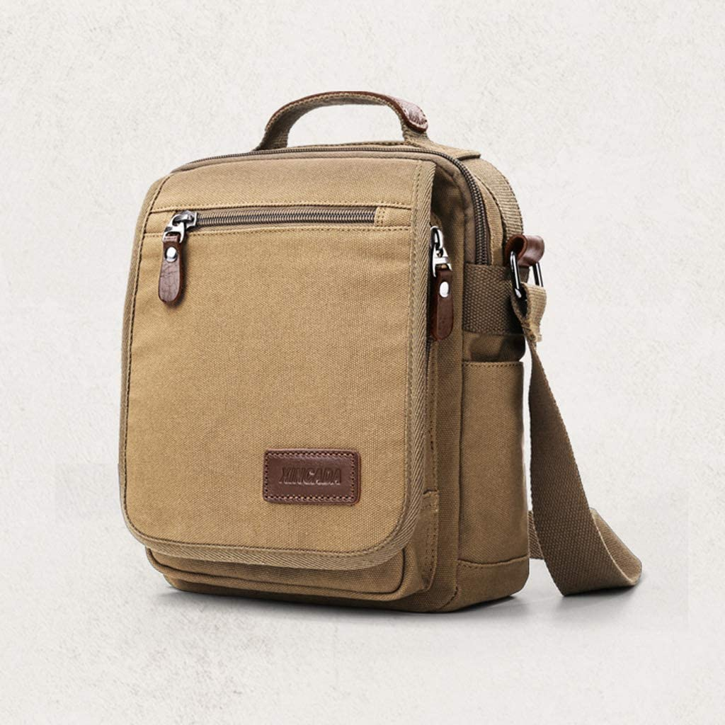 WCJ Business Casual Shoulder Bag Mens Canvas Bag Diagonal Bag Small Backpack Multi-Function Mens Bag Size : S