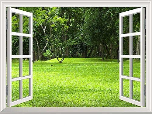 Removable Wall Sticker Wall Mural Garden Green Grass Creative Window View Wall Decor
