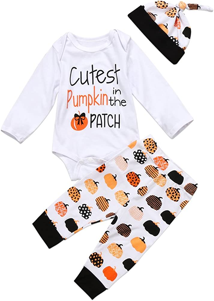 3Pcs Cute Infant Baby Girl Boy Halloween Clothes Long Sleeve Pumpkin Romper with Hat and Pants Outfits Set