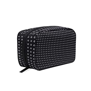 6a9c308246 Women s Travel Cosmetic Bags Hand Drawn Polka Dot Portable Toiletry Bags  Multifunctional Square Organizer Storage Pouch