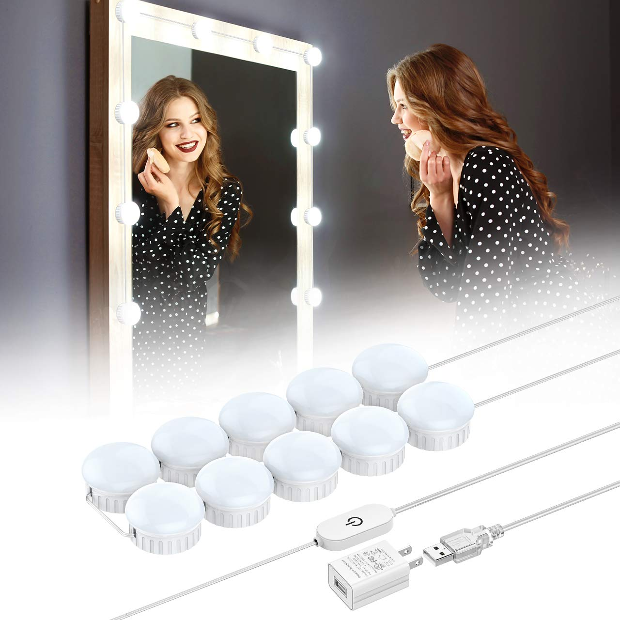 Nicewell Vanity Mirror Lights, Hollywood Style LED Makeup Mirror Lights Kit with 10 Dimmable Daylight White Light Bulbs for Vanity Table and Bathroom Dressing Room Mirror(Mirror not Included)