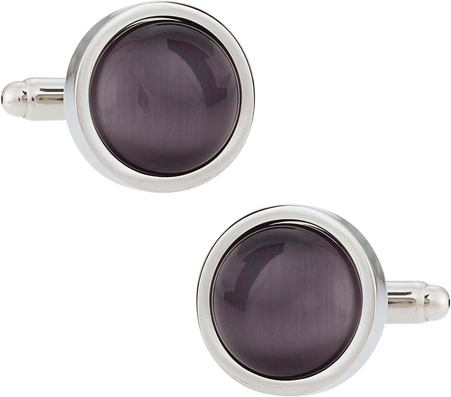 Cuff-Daddy Timeless Round Gray Catseye-Style Cufflinks Framed Silver-Tone